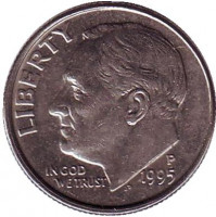 Рузвельт. Монета 10 центов. 1995 (P) год, США.