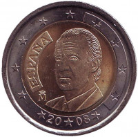 Монета 2 евро. 2008 год, Испания.