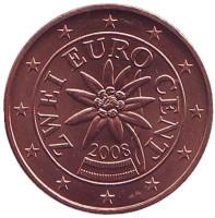 Монета 2 цента. 2008 год, Австрия.