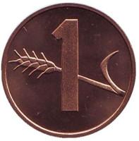 Монета 1 раппен. 1982 год, Швейцария. UNC.