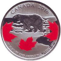 Полярный медведь. Истинный север. Монета 25 долларов. 2016 год, Канада.