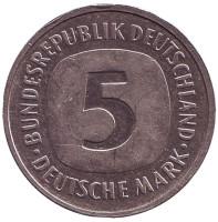 Монета 5 марок. 1994 год (F), ФРГ.