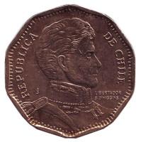 Бернардо О'Хиггинс. Монета 50 песо. 2014 год, Чили.