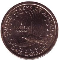 """Сакагавея (Парящий орел), серия """"Коренные американцы"""". 1 доллар, 2002 год (D), США."""