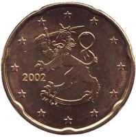 Монета 20 центов. 2002 год, Финляндия.