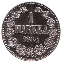 1 марка 1864 года. Монетный двор Финляндии. Памятный жетон. 2001 год, Финляндия.