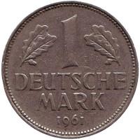 Монета 1 марка. 1961 год (G), ФРГ.