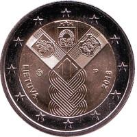 100-летие независимости прибалтийских государств. Монета 2 евро. 2018 год, Литва.