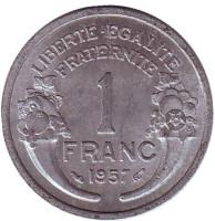 Монета 1 франк. 1957 год, Франция.