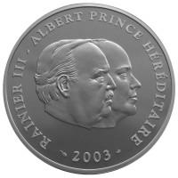 80 лет со дня рождения Князя Ренье III. Монета 10 евро. 2003 год, Монако.