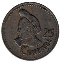 Индианка. Монета 25 сентаво. 1985 год, Гватемала.