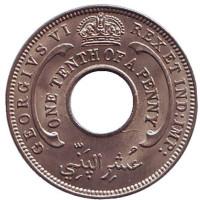 Монета 1/10 пенни. 1939 год, Британская Западная Африка.