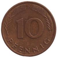 Дубовые листья. Монета 10 пфеннигов. 1982 год (D), ФРГ. Из обращения.