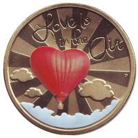Любовь повсюду. Монета 1 доллар. 2015 год, Тувалу.