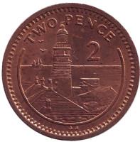 "Маяк. Монета 2 пенса. 1992 год, Гибралтар. (Отметка ""AA"")"