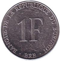 Монета 1 франк, 1980 год, Бурунди.