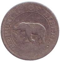 Слон. Корабль. Монета 5 центов. 1960 год, Либерия.