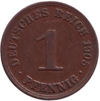 Монета 1 пфенниг. 1905 год (A), Германская империя.