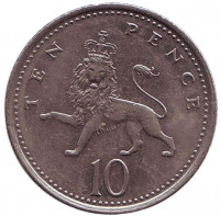 Монета 10 пенсов. 2000 год, Великобритания.