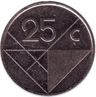 Монета 25 центов. 2002 год, Аруба.