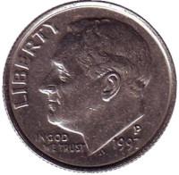 Рузвельт. Монета 10 центов. 1997 (P) год, США.