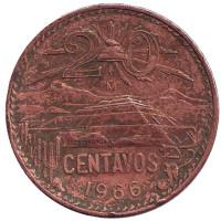 Пирамида Солнца. Монета 20 сентаво. 1966 год, Мексика.