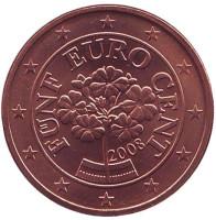 Монета 5 центов. 2008 год, Австрия.