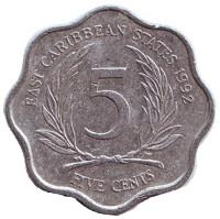 Монета 5 центов. 1992 год, Восточно-Карибские государства.