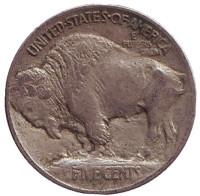Бизон. Индеец. Монета 5 центов. 1913 год, США. (Поднятый курган на реверсе)