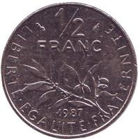 Монета 1/2 франка. 1987 год, Франция.