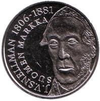Йохан Вильгельм Снелльман. Банк Финляндии. Памятный жетон. 2001 год, Финляндия.