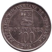Монета 100 боливаров. 2016 год, Венесуэла. Из обращения.