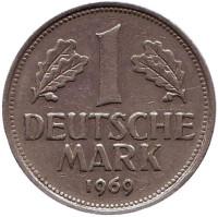 Монета 1 марка. 1969 год (G), ФРГ.