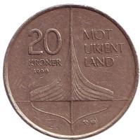 Винланд. Открытие викингами Северной Америки. Монета 20 крон. 1999 год, Норвегия.