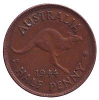 Кенгуру. Монета 1/2 пенни. 1944 год, Австралия.