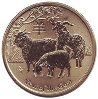 Год козы. Монета 1 доллар. 2015 год, Австралия.