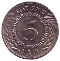 ФАО. Продовольственная программа. Монета 5 динаров. 1970 год, Югославия.