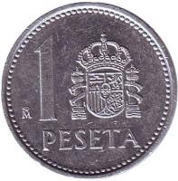Монета 1 песета. 1987 год, Испания.