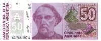 Бартоломе Митре. Банкнота 50 аустралей. 1986-1989 гг., Аргентина.