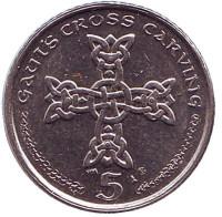 Кельтский крест. Монета 5 пенсов. 2002 год (AE), Остров Мэн.