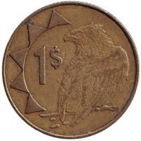 Орёл-скоморох. Монета 1 доллар. 1998 год, Намибия.