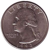 Вашингтон. Монета 25 центов. 1993 (P) год, США.
