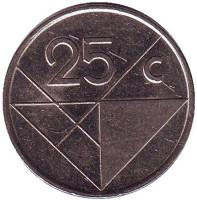 Монета 25 центов. 2003 год, Аруба.