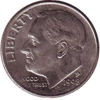 Рузвельт. Монета 10 центов. 1998 (P) год, США.