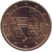 Монета 10 центов. 2008 год, Австрия.