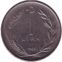 Монета 1 лира. 1965 год, Турция.