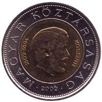 200 лет со дня рождения Лайоша Кошута. Монета 100 форинтов. 2002 год, Венгрия.