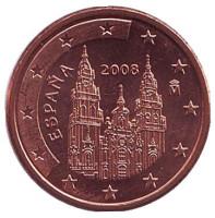 Монета 1 цент, 2008 год, Испания.