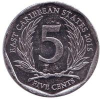 Монета 5 центов. 2015 год, Восточно-Карибские государства.