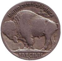 Бизон. Индеец. Монета 5 центов. 1915 год (D), США.